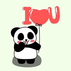 I<3U  #panda #pandakuma #balloon #iloveyou