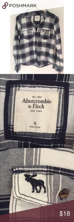 """Navy blue and white flannel From A&F, super soft flannel made with thick cotton material . True size M, not an oversized fit but great for layering or paired w some leggings and boots (length of these are 24"""") . Worn a handful of times but are like brand new Abercrombie & Fitch Tops Button Down Shirts"""