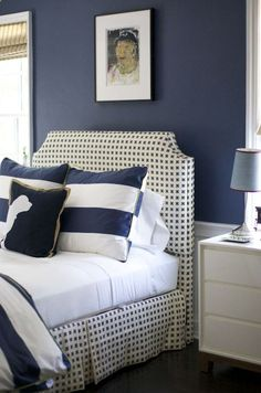 Morrison Fairfax Interiors: Adorable need ideas for boys room now that they are old... room is blue but still too feminine.like the stripes but not the dotted headboard.navy blue big boys bedroom with navy blue walls paint color paired with crisp ...