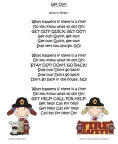 Miss Kindergarten: Fire Safety Week (poem and other ideas available) Preschool Songs, Preschool Themes, Kids Songs, Preschool Crafts, Kids Crafts, Fire Safety Crafts, Fire Safety Week, Miss Kindergarten, Kindergarten Social Studies