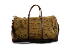 Vintage Tapestry Ovenight Bag with Brown by ArtifactVintage, $200.00