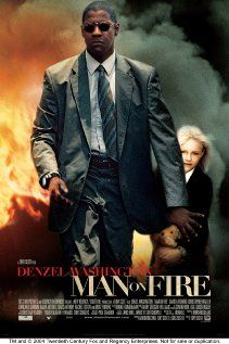 MAN ON FIRE Thriller starring Denzel Washington as John Creasy, a despondent former CIA operative/Force Recon Marine officer turned bodyguard, who goes on a revenge rampage after his charge, nine-year-old Pita Ramos (Dakota Fanning), is abducted in Mexico Film Movie, Film D'action, Bon Film, See Movie, Movie List, Denzel Washington, Dakota Fanning, Movies Showing, Movies And Tv Shows
