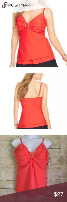 Plus Size Coral Tankini Swim Top Coral swim tankini Top. Has sweet heart neckline, adjustable straps, removable cups, has gold circle ring in middle, hits at the hips. Pair this with your favorite swim bottoms. Island Escape Swim Bikinis