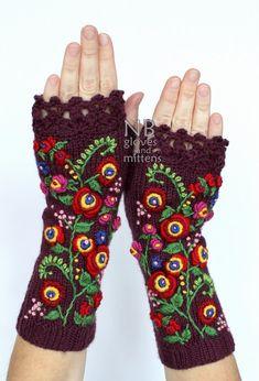 In maglia guanti senza dita Borgogna rosso 25cm lungo