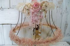 Romantic shabby chic lampshade soft muted pinks with distressed lace paper roses anita spero