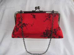 Red &  Black floral clutch purse/ Bridal clutch/ by jemdesign567, $40.00