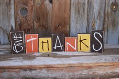 GIVE THANKS or HARVEST wooden home decor Thanksgiving Fall decoration Blocks with Vinyl lettering on Etsy, $20.00