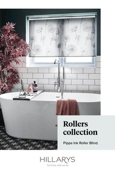Exuding modern elegance our sheer blinds are a great way to add privacy to your room without losing any natural light. We've styled this trendy bathroom with Pippa Ink Roller blind to complement the white tiling and keep an open, fresh feel to the space. The delicate Pink flowers are a perfect match to the sheer of the fabric and contrast beautifully with the dark, moody wall to create a soothing setting. View our range of bathroom blinds.