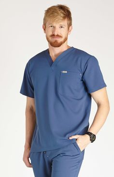 men's naga one-pocket scrub top - midnight blue