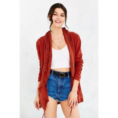 Ecote Mayfair Cardigan ($89) ❤ liked on Polyvore featuring tops, cardigans, dark orange, boho tops, red cardigan, lightweight cardigan, hooded knit cardigan and woven top