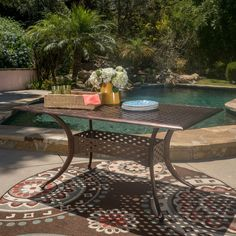 Outdoor Best Selling Home Sunset Shiny Copper Cast Aluminum Rectangular Patio Dining Table - 296529