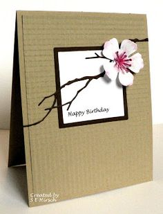 handmade card ... Cherry Blossom and Woodland Branch die cuts ... kraft base ... clean and simple design ... delightful!!