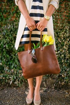 Classic brown leather bag, stripes and tulips... #spring