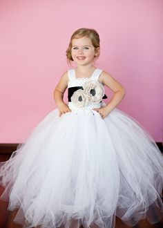 Flower Girl Tutu Dress in White with Double Couture Handmade Rose and Satin Sash. $137.00, via Etsy.