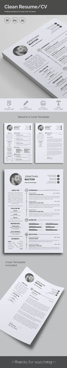Clean & Modern Resume/cv template to help you land that great job. The flexible page designs are easy to use and customize, so you can quickly tailor-make your resume for any opportunity. Infographic Resume Template, College Resume Template, Best Resume Template, Cv Template, Teaching Resume, Resume Writing, Good Resume Examples, Resume Ideas, Resume Words Skills