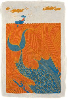 """""""The Sea Monster"""" illustration with an orange sea / ocean & sky clouds, and a teal blue fish Art And Illustration, Gravure Illustration, Monster Illustration, Illustrations, Linocut Prints, Art Prints, Sea Monsters, Fish Art, Graphic"""