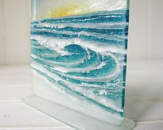 Specialists in contemporary textured kiln-formed glass by GlassRelief Fused Glass Art, Stained Glass, Mosaic Glass, Medium Waves, Glass Fusing Projects, Kiln Formed Glass, Wall Boxes, Turquoise Glass, Ocean Waves