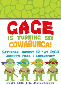 Ninja Turtle Birthday Party Invitation