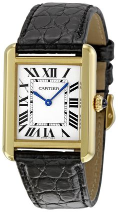 AmazonSmile: Cartier Women's W5200002 Tank Solo Black Leather Strap Watch: Cartier: Watches