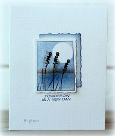 CAS204 New Day by Biggan - Cards and Paper Crafts at Splitcoaststampers. I like the sponged frame behind the image.