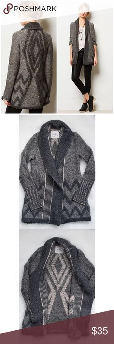 Anthropologie Angel of the North Equinox Cardigan Good, pre-owned condition.  NOTE: there is some pilling throughout (see photos).  Rated: 6.5/10.  No holes, stains, etc.  Size: XS (see measurements).  Color: Gray.  Retail price: $128.  We love a sweater than knows how to cozy up. Complete with fuzzy textured detailing, Angel of the North's cardi was made for swaddling. 	•	Wool, acrylic, polyester 	•	Dry clean  Measurements: NOTE: this runs small for Anthro's XS.  Best for narrower shoulders…