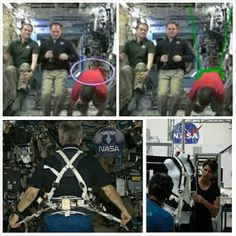 Flat Earth conspirators claim this is how NASA fakes weightless videos. The Glenn Harness was developed by researchers in the Human Research Program's Exercise Countermeasures Project to improve the comfort and loading for crew members. The weight-bearing exercise afforded by treadmill running on the ISS is thought to be crucial for effective gravitational loading of the musculoskeletal system and for bone health in space.