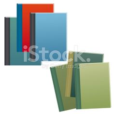 Set of blue and brown text books with hard covers royalty-free stock vector art