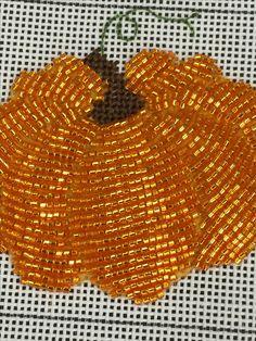 needlepoint beaded pumpkin