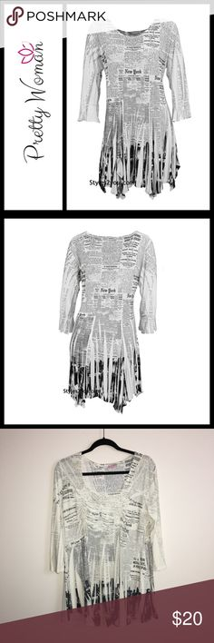 """Pretty Woman New York Newspaper Print Tunic Perfect like new condition, size 2 which is like a women's large - see measurements below.   This is a super soft and comfy newsprint tunic with tiny rhinestones on the lower right side and 3/4 sleeve. Made of 92% polyester 8% spandex. Hand wash cold. Made in the USA.  We recommend this top to be snug in the bust.   Size 2: 40-60"""" Bust 17"""" Shoulder to sleeve hem 46-66"""" Hip 33"""" Shoulder to hem Pretty Woman Tops Tunics"""