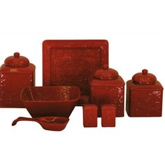 Savannah Canister Set features a detailed raised relief tooled leather design in a high gloss finish of red to coordinate with your Western or Southwestern decor. It will be the highlight of your kitchen counter top to coordinate with your decor.  The easy care stoneware is dishwasher, oven and microwave safe.