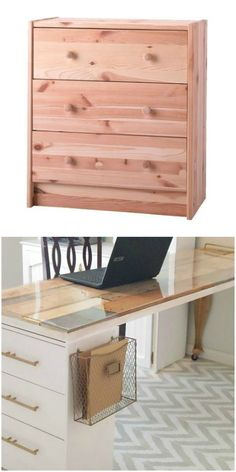 The Rast 3-drawer chest makes an awesome comeback as a polished craft room desk in this IKEA hack.