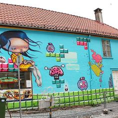 A platform game mural on Sverres Gate by Gunvor Rasmussen, ( Anne Angelshaug ) & Barnslig ( ) -------------------- Street Art Photography, Street Artists, Bergen, Art Day, Insta Art, Norway, Tours, In This Moment, Photo And Video