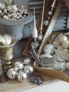 Elegant silver and white Christmas and holiday decorations.