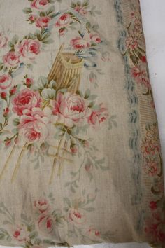 .Antique French early 19th century block printed cotton and linen mix ~ STUNNING Rococo design ~ www.textiletrunk.com