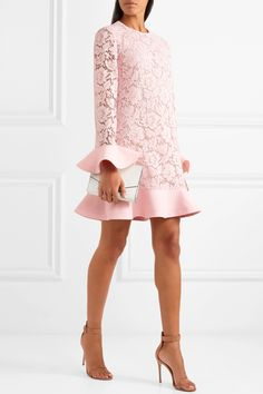 Valentino | Crepe-trimmed guipure lace mini dress | NET-A-PORTER.COM