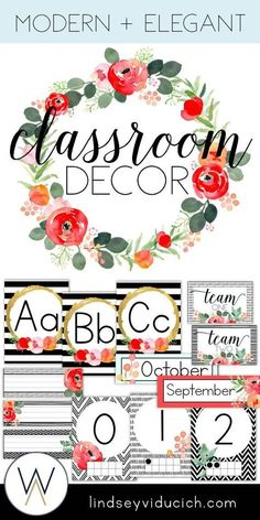 There are so many fun options out there for classroom decorations, especially for elementary classrooms! This packet is a mix of my favorite things--watercolor flowers, gold, and black and white stripes. Click here to see how you can make this theme part of your classroom this year!