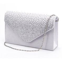 Large Ladies Evening Satin Bridal Diamante Clutch Bag Prom Envelope... ($9.99) ❤ liked on Polyvore featuring bags, handbags, clutches, evening hand bags, prom purses clutches, prom clutches, bridal purses clutches and handbags purses