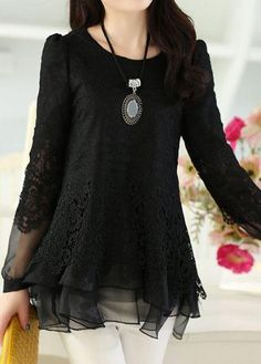 #rotita.com - #unsigned Long Sleeve Lace Panel Layered Black Blouse - AdoreWe.com
