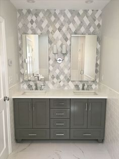 Use geometric, multi-tonal grey tiles as a feature wall to create a bold statement in your bathroom. Bathroom Sink Design, Grey Bathroom Tiles, Gray And White Bathroom, Bathroom Accents, Grey Tiles, Grey Bathrooms, Modern Bathroom, Small Bathroom, Marble Bathrooms