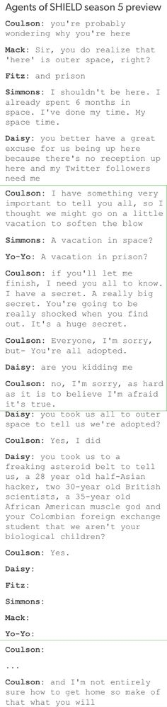 Agents of SHIELD, Coulson, Mack, Fitz, Simmons, FitzSimmons, Daisy, Yo-Yo/Elena