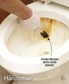 How to Clean a Bathroom: Remove stubborn rust stains with acid magic and 9 other tips http://www.familyhandyman.com/bathroom/how-to-clean-a-bathroom/view-all