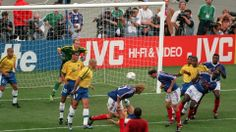1998 World Cup Final, St, Denis, France, 12th July, 1998, France 3 v Brazil 0, France's Zinedine Zidane scores France's second goal with a header from a corner (Photo by Popperfoto/Getty Images)