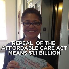Congress has to stop political grandstanding and focus on JOBS.    Representative Karen Bass says:    The Affordable Care Act keeps insurance companies in check. Literally. It forces them to send rebate checks to people if they spend more than 20% of insurance premiums on administrative costs. This year, the Obama Administration is forcing insurance companies to send more 1.1 billion dollars back to consumers. We can't let Republicans repeal Health Care Reform. Share this to spread the word!