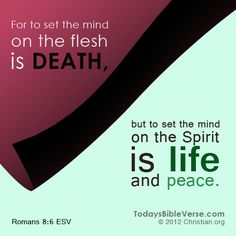 For to set the mind on the flesh is death, but to set the mind on the Spirit is life and peace. - Romans 8:6