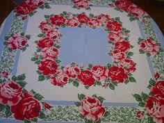 Vintage 1950'S Cotton Tablecloth