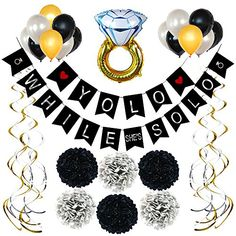 Bachelorette Party Decorations Kit - Black, Gold and Silver Set Bachelorette Banner, Bachelorette Party Supplies, Bachelorette Party Decorations, Black And Gold Party Decorations, Bride To Be Sash, Let Your Hair Down, Latex Balloons, Swirls, Pole Dancing