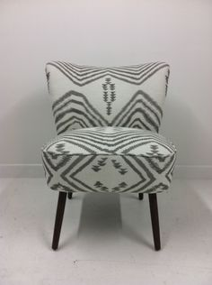cocktail chair reupholstered in Andrew Martin 'mohican' fabric, Osi Modern Chair Upholstery, Sofa Chair, Cocktail Chair, Living Room Inspiration, Inspired Homes, Retro Design, Textiles, Interior, Sweet Dreams