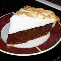 Chocolate pie My notes: I use time the recipe and make 2 pies. I also use the dark chocolate cocoa powder. Chocolate Meringue Pie, Chocolate Pie Recipes, Chocolate Pies, Chocolate Cream, Vegetarian Chocolate, Chocolate Gravy, German Chocolate, Chocolate Pudding, Homemade Chocolate