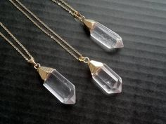 Bergkristall Halskette Bergkristall Anhänger Gold von SinusFinnicus