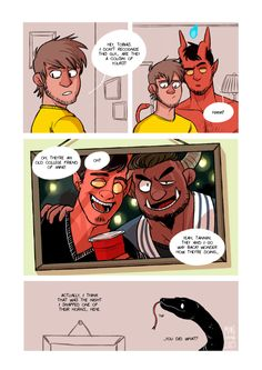 mancameron:  College Friends on [TAPASTIC]A fanart comic for tohdaryl! Finally got it done… and now we know who broke Tannin's other horn. College, am I right haaaa  I swear the horn is not being used as the 'Bong of Destiny'. - Tobias. Check out mancameron's awesome fan comic for Tobias and Guy! Also do check out his adorkable boys, Ethan and Tannin and give them some love too.